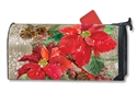 Poinsettia with Pine Cones MailWraps Mailbox Cover