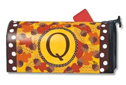 Fall Follies Monogram Q MailWraps Magnetic Mailbox Cover
