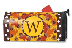 Fall Follies Monogram W MailWraps Magnetic Mailbox Cover