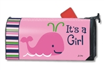 Whales - It's a Girl MailWraps Magnetic Mailbox Cover