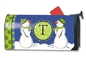 Winter Frolic Monogram T MailWraps Magnetic Mailbox Cover
