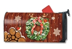 Cozy Cabin Wreath MailWraps Magnetic Mailbox Cover