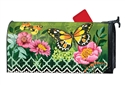 Butterflies with Pink Flowers MailWraps Mailbox Cover