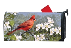 Cardinal in Blossoms MailWraps Mailbox Cover