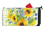 Sunflowers on Gingham MailWraps Mailbox Cover