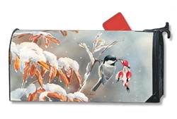 Winter Day Chickadees MailWrap Magnetic Mailbox Cover