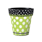 "Frolic Green with Dots 15"" Art Planter"