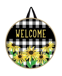 Checks and Yellow Daisy PVC Door Decor