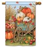 Pumpkin Wagon BreezeArt Standard House Flag