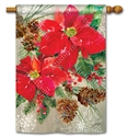 Poinsettia with Pine Cones  BreezeArt Standard House Flag
