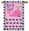 Whales - It's a Girl BreezeArt Standard House Flag