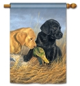 Lab Puppies BreezeArt Standard House Flag