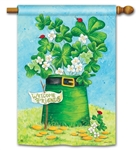 Shamrocks and Ladybugs BreezeArt Standard House Flag