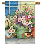 Front Porch Flowers BreezeArt Standard House Flag