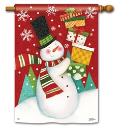 Happy Snowman BreezeArt Standard House Flag