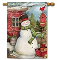 Red Barn Snowman BreezeArt Standard House Flag