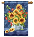 Denim Sunflowers BreezeArt Standard House Flag