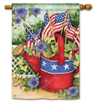 Patriotic Watering Can BreezeArt Standard House Flag