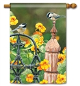 Chickadee Fence Post BreezeArt Standard House Flag