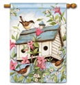 Spring Birdhouse with Clematis BreezeArt Standard House Flag