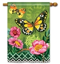 Butterflies with Pink Flowers BreezeArt Standard House Flag