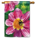 Pink Flower with Bee BreezeArt Standard House Flag