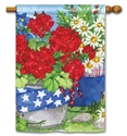 Patriotic Floral BreezeArt Standard House Flag
