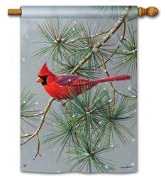 Winter Red Bird BreezeArt Standard House Flag