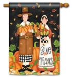 Pilgrim Thanksgiving BreezeArt Standard House Flag
