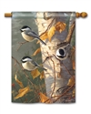 Chickadee Trio BreezeArt Standard House Flag