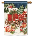 Christmas Farm Wagon BreezeArt Standard House Flag