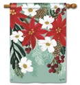Poinsettia Bloom BreezeArt Standard House Flag