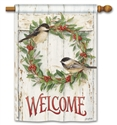 Chickadee Wreath BreezeArt Standard House Flag