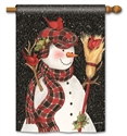 Snowman With Broom BreezeArt Standard House Flag