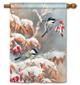 Winter Day Chickadees Decorative Standard House Flag