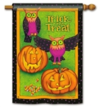 Trick or Treat Owls BreezeArt House Flag