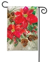Poinsettia with Pine Cones BreezeArt Garden Flag