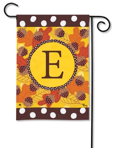 Fall Follies Monogram E BreezeArt Garden Flag