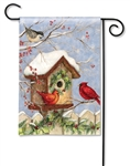 Christmas Birdhouse BreezeArt Garden Flag