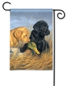 Lab Puppies BreezeArt Garden Flag