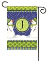 Winter Frolic Monogram J BreezeArt Garden Flag
