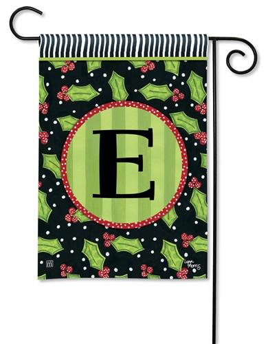 Holly Leaves Garden Flag Monogram E