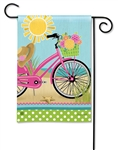 Morning Beach Ride BreezeArt Garden Flag
