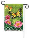Butterflies with Pink Flowers BreezeArt Garden Flag