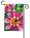 Pink Flower with Bee BreezeArt Garden Flag