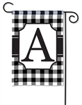 Black & White Check Monogram Garden Flag A