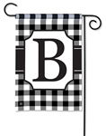Black & White Check Monogram Garden Flag B
