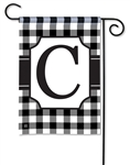 Black & White Check Monogram Garden Flag C