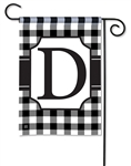 Black & White Check Monogram Garden Flag D