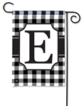 Black & White Check Monogram Garden Flag E